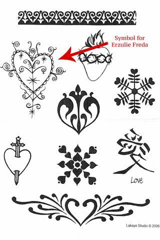 Hearts & Valentines tattoo stencil