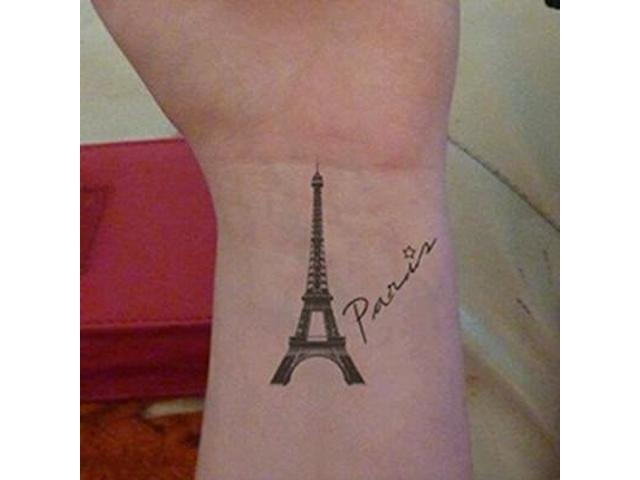 Paris Eiffel Tower tattoo on wrist