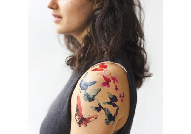 Tattly watercolor butterfly tattoo